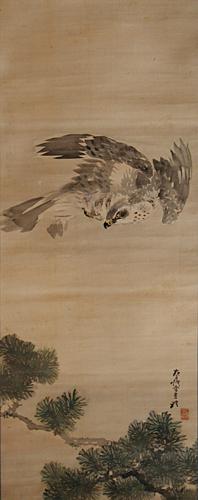 掛軸 Hanging scroll】J085-岸礼『猛禽図』/浮世絵・掛軸・書画・骨董 ...